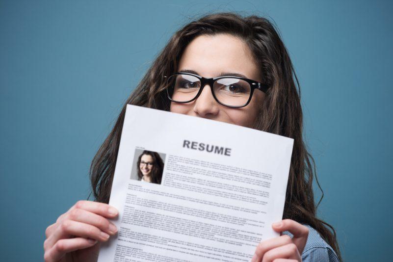 Female student holding resume